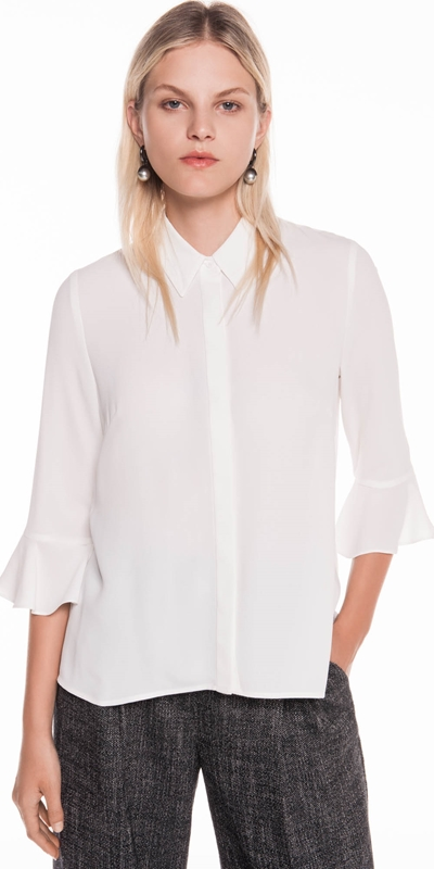 Shirts  | Crepe Fluted Cuff Shirt