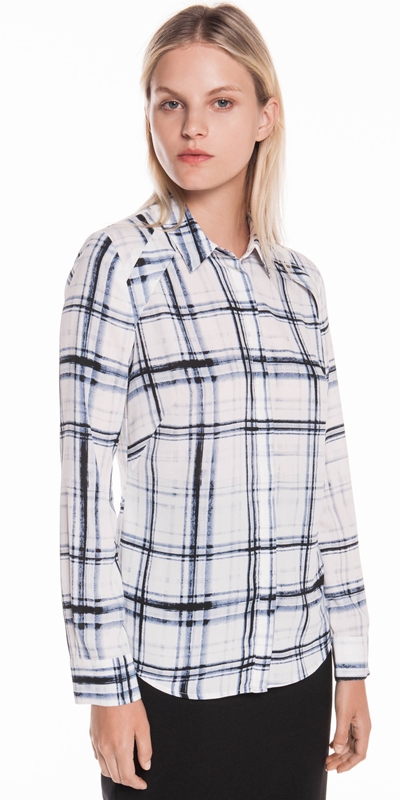 Tops  | Painted Check Georgette Shirt