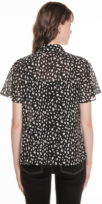 Shirts | Animal Georgette Flared Sleeve Shirt