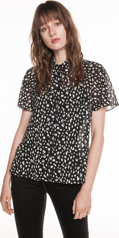 Sale | Animal Georgette Flared Sleeve Shirt