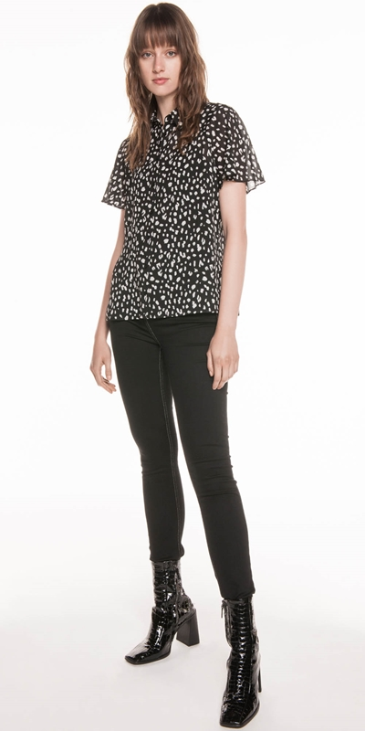 Tops  | Animal Georgette Flared Sleeve Shirt