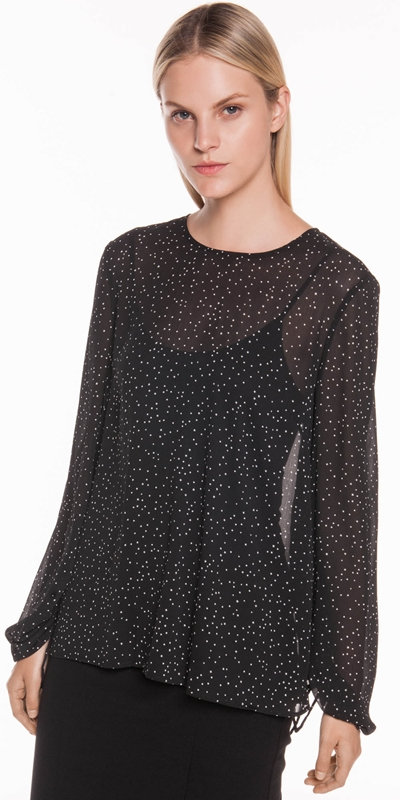 Shirts | Starry Spot Ruched Sleeve Top