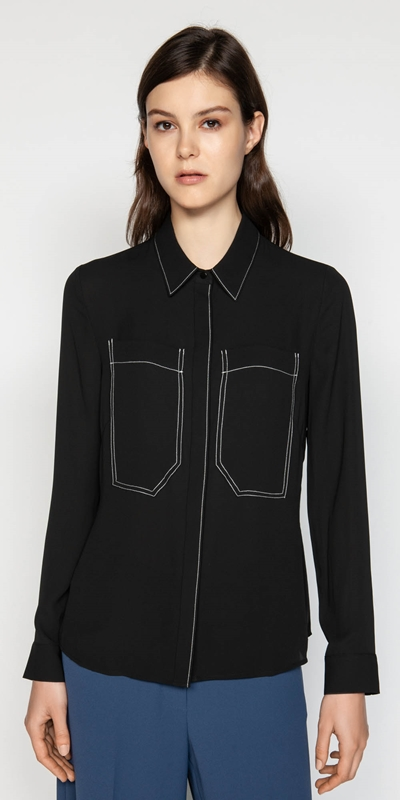 Tops  | Georgette Oversized Patch Pocket Shirt