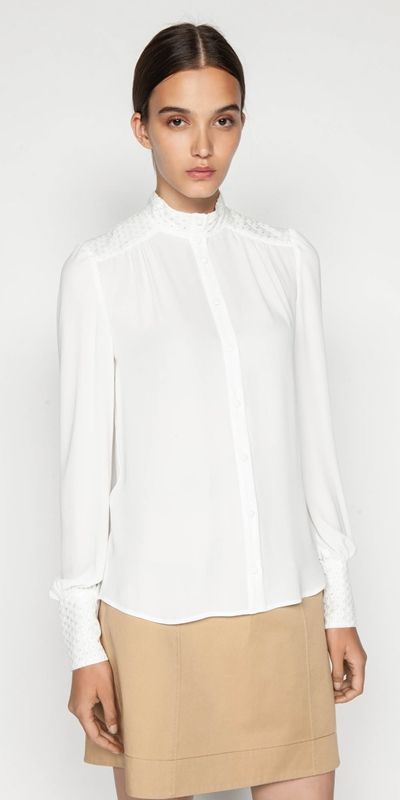 Shirts  | Spliced Lace Blouson Sleeve Blouse