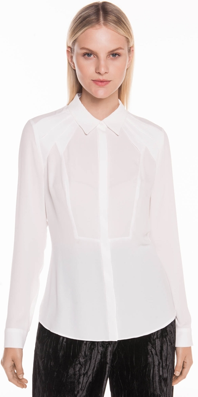 2c12c46f666c19 Tops | Draped Tuck Collared Shirt ...