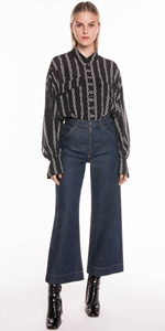 Shirts | Chain Stripe Crinkle Georgette Shirt
