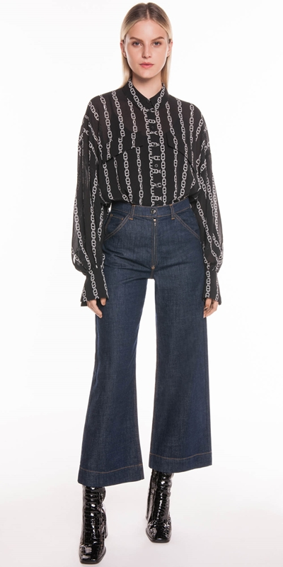 Tops | Chain Stripe Crinkle Georgette Shirt