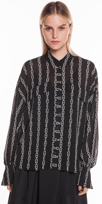 Shirts   Chain Stripe Crinkle Georgette Shirt