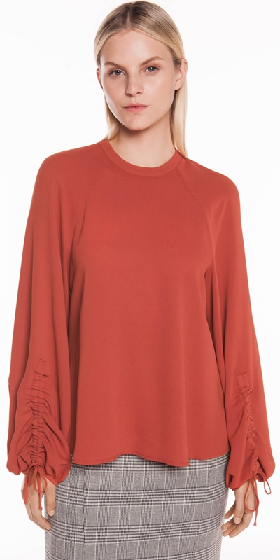 Tops | Drapey Crepe Ruched Sleeve Top