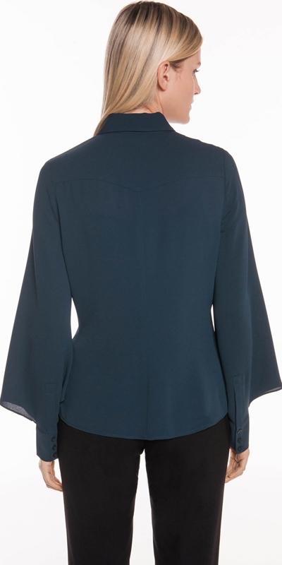 Shirts | Drapey Crepe Blouson Sleeve Shirt