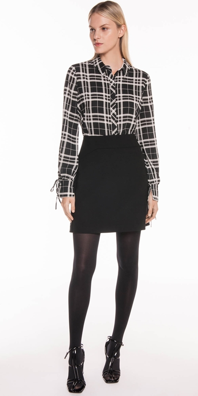Tops | Monochrome Check Tie Sleeve Shirt