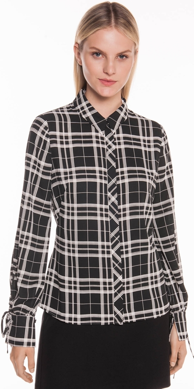 Wear to Work  | Monochrome Check Tie Sleeve Shirt
