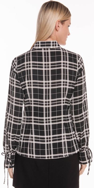 Shirts | Monochrome Check Tie Sleeve Shirt