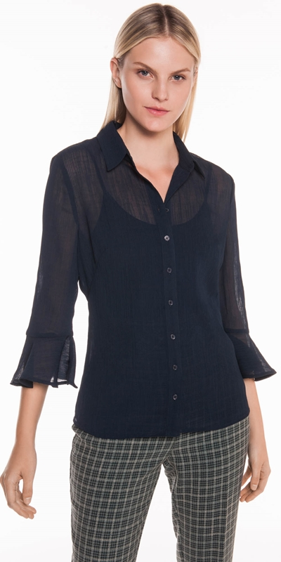 Tops  | Crinkle Fluted Cuff Shirt