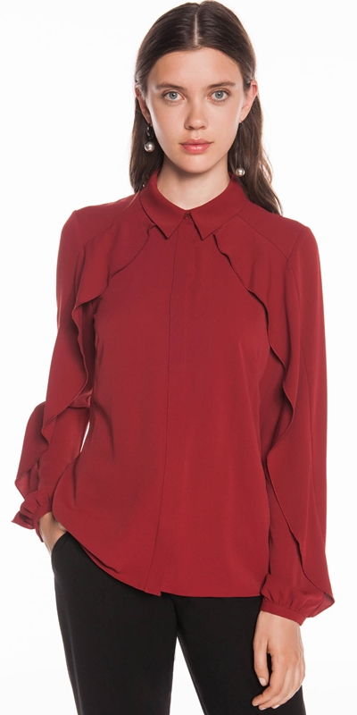 Tops | Waterfall Frilled Sleeve Shirt