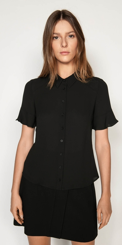 Tops  | Georgette Fluted Sleeve Shirt
