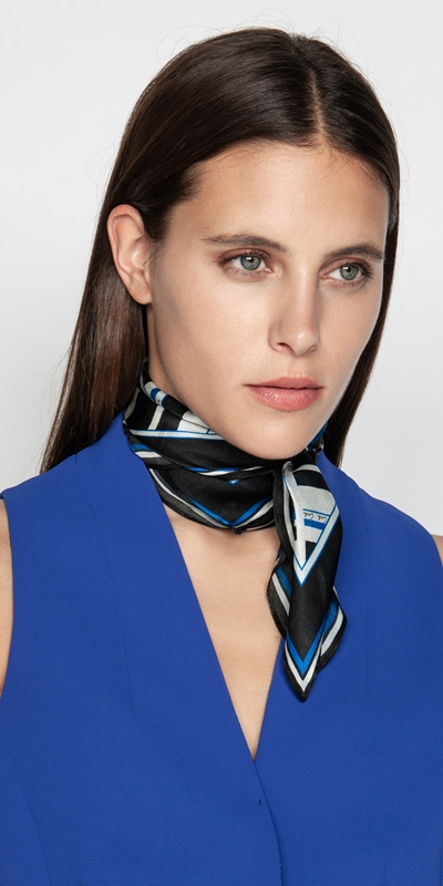 Accessories  | Cue Silk Stripe Scarf