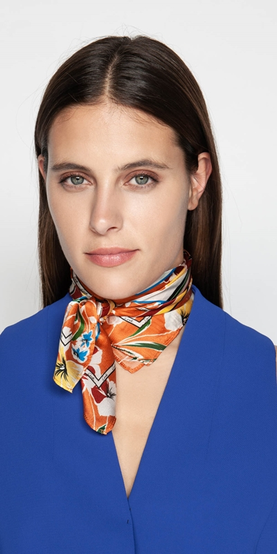 Accessories  | Floral Sunset Silk Scarf