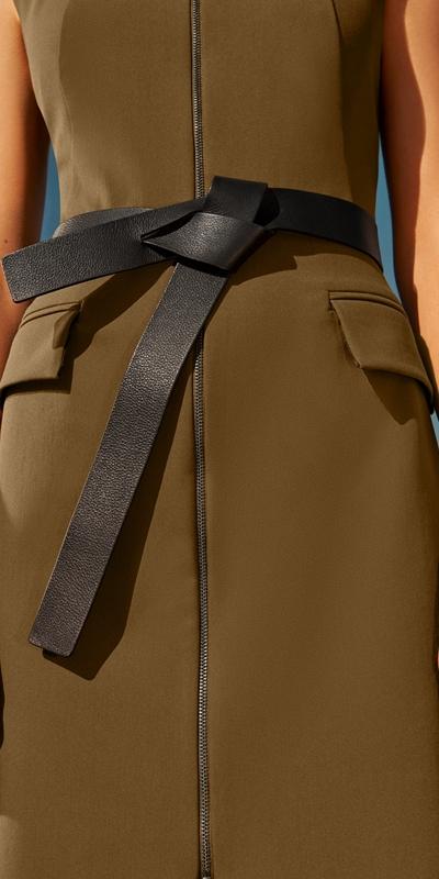Accessories  | Black Leather Twist Front Belt