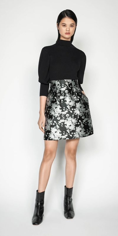 Wear to Work | Monochrome Rose Mini Skirt