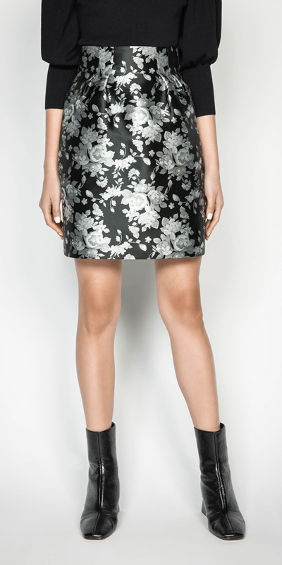Skirts | Monochrome Rose Mini Skirt