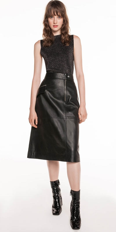 Skirts | Leather Midi Skirt