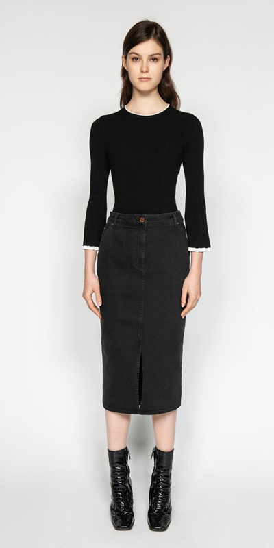 Skirts | Washed Black Denim Pencil Skirt