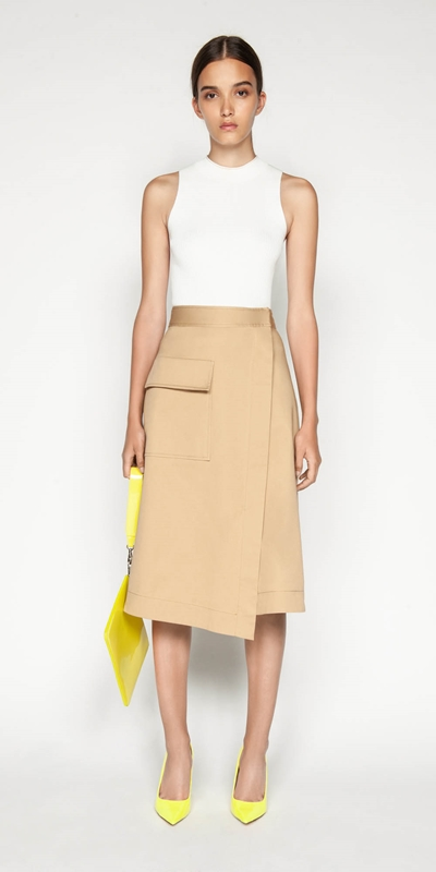 Sale | Cotton Twill Asymmetric Skirt