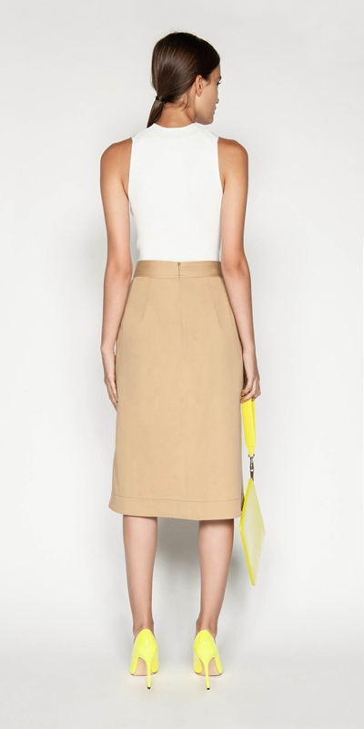 Skirts   Cotton Twill Asymmetric Skirt