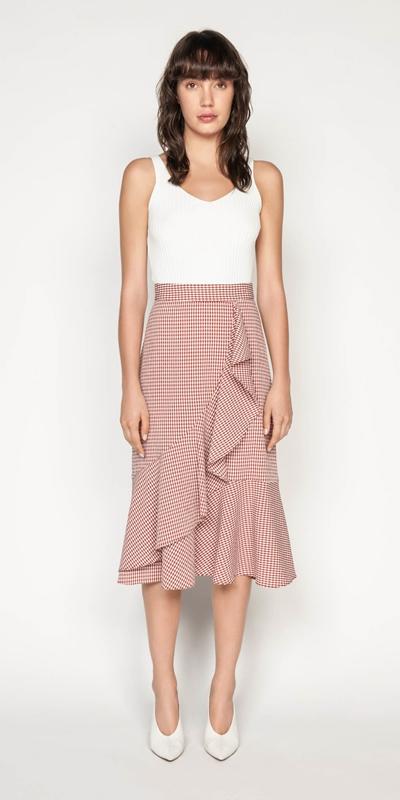 Skirts | Crinkle Gingham Frill Midi Skirt