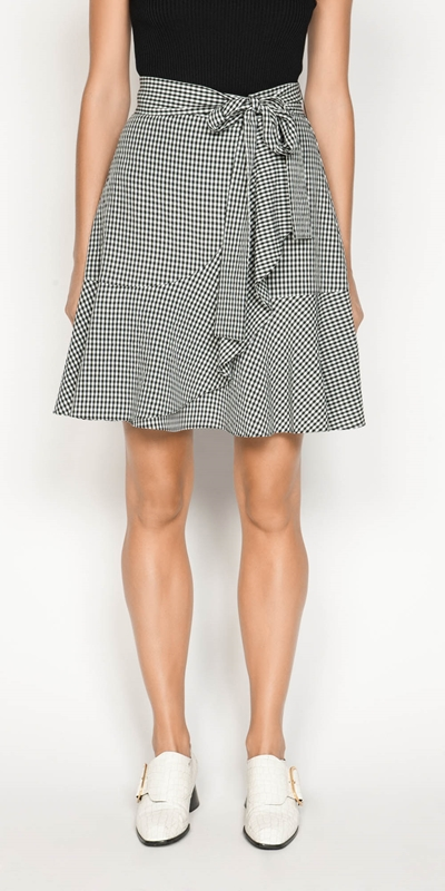 Skirts  | Crinkle Gingham Tie Waist Skirt
