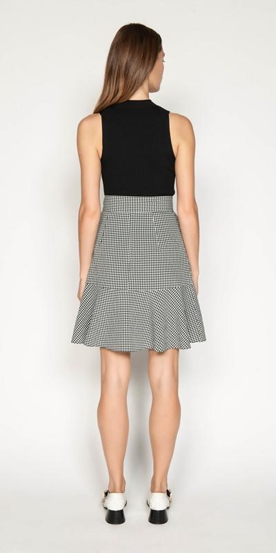Skirts | Crinkle Gingham Tie Waist Skirt