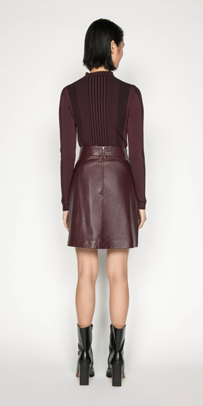 Skirts | Leather Wrap Front Skirt