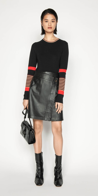 Wear to Work | Leather Wrap Front Skirt