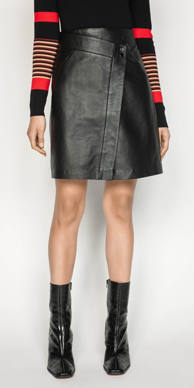 Work From Home  | Leather Wrap Front Skirt