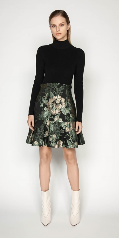 Dresses | Jacquard Frilled Hem Mini