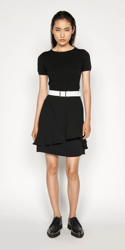 Wear to Work | Crepe Fluted Hem Skirt