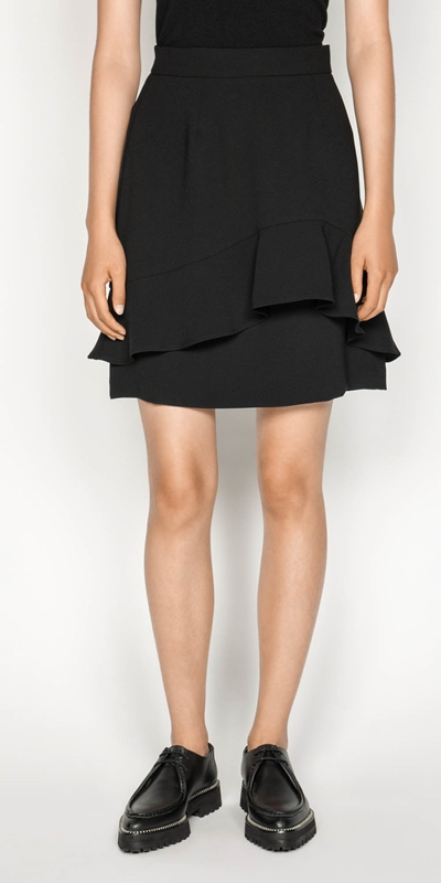 Skirts | Crepe Fluted Hem Skirt