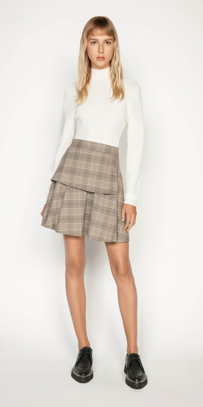 Work From Home | Camel Check Mini Skirt