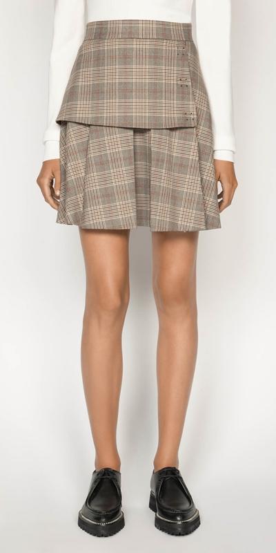 Skirts    Camel Check Mini Skirt