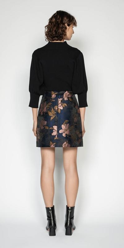 Skirts | Rose Jacquard Mini Skirt