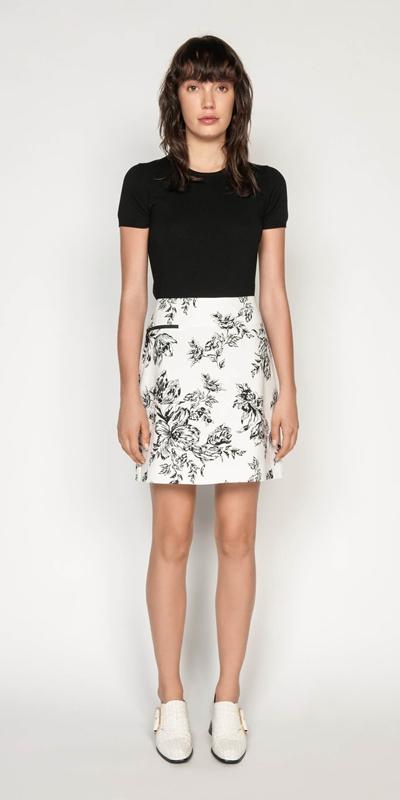 Sale | Toile Floral Cotton Ottoman Skirt