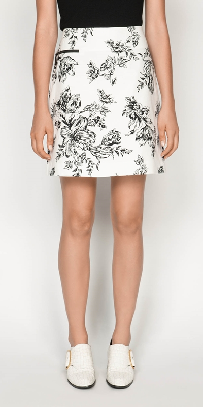 Skirts  | Toile Floral Cotton Ottoman Skirt