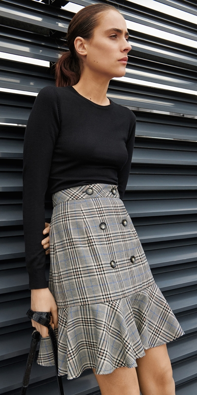 Sale  | Button Front Fluted Skirt