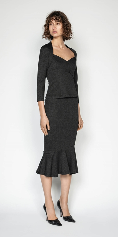 Skirts | Melange Herringbone Double Knit Skirt