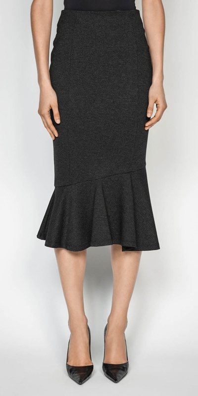 Sale  | Melange Herringbone Double Knit Skirt