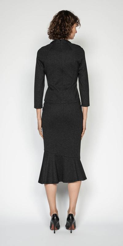 Skirts | Melange Herringbone Double Knit Skirt