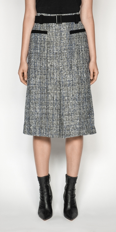 Skirts  | Boucle Tweed Belted Midi Skirt