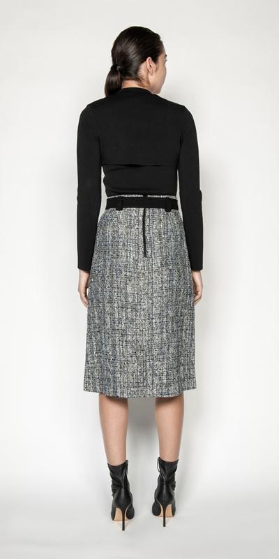 Skirts | Boucle Tweed Belted Midi Skirt