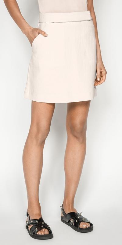 Skirts | Ecru Cotton Linen Mini